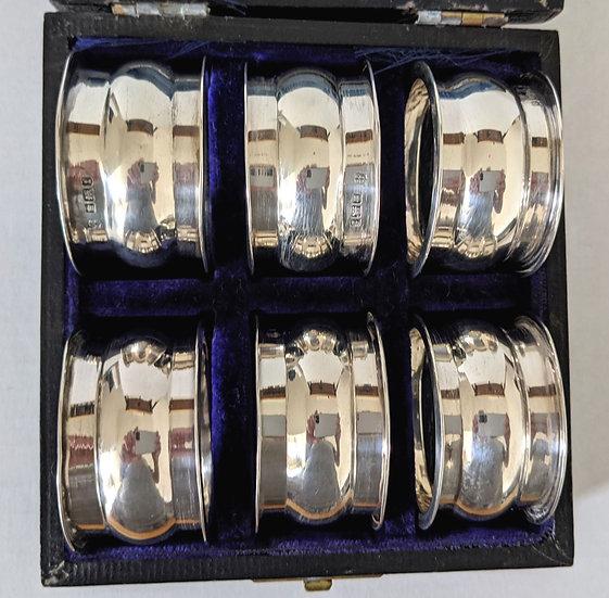 Antique Set 6 Boxed Solid Silver Napkin Rings John William Deakin Sheffield 1911