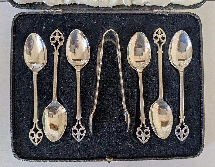 Cased Set Of 6 Solid Silver Art Nouveau Teaspoons & Tongs - Birmingham 1911