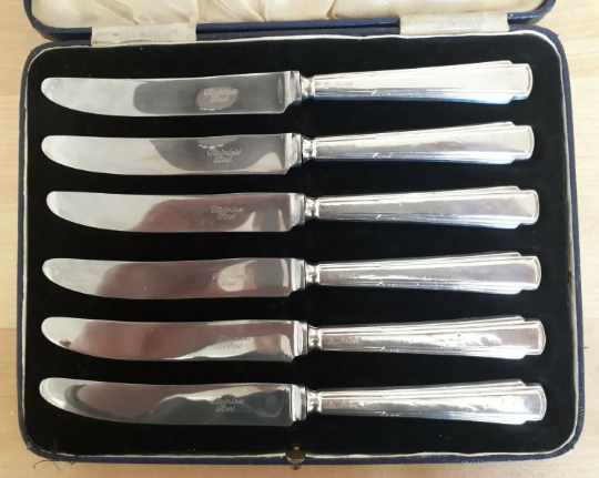 1936 Art Deco Cased Set Of 6 Afternoon Tea Knives - Silver Handles C.H. Beatson