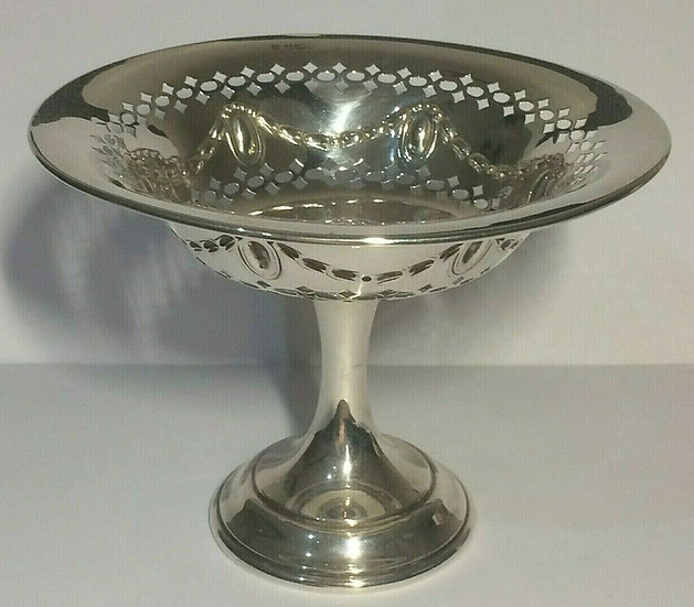 1899 Silver Pedestal Bowl/Dish with swags and Pierced Pattern to top Sheffield