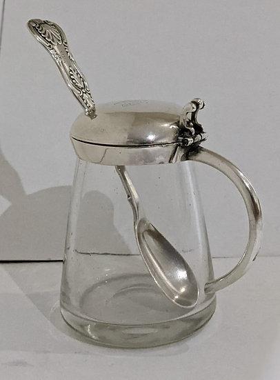 VICTORIAN SILVER AND GLASS CONDIMENT/MUSTARD POT SCOTTISH PROV SPOON  1857