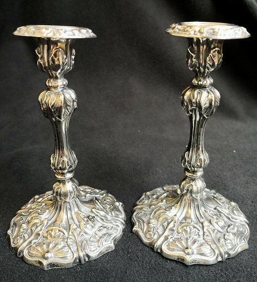 Art Nouveau 1901 A Fine Pair of Edwardian Silver Art Nouveau Candlesticks1901