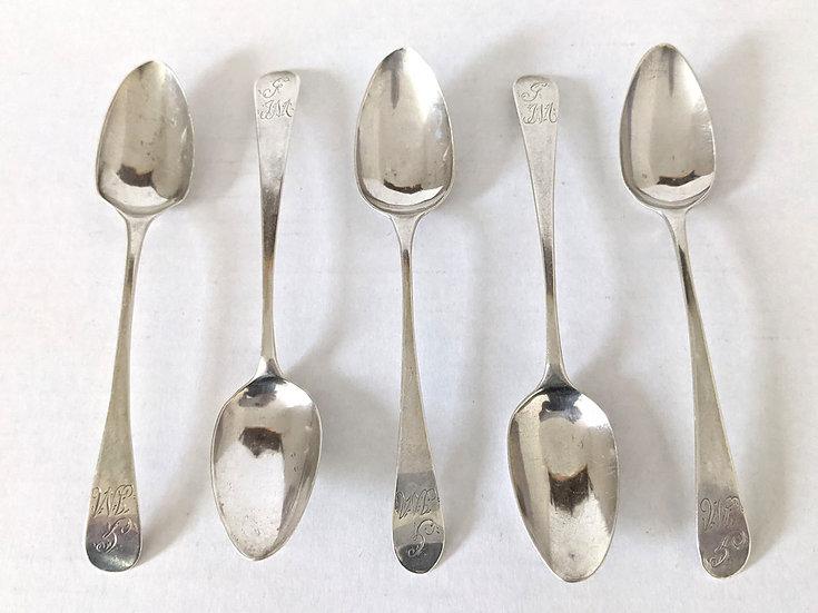 5 Silver teaspoons by Stephen Adams II London 1806