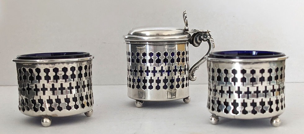 Solid Silver Cruet Set two Salts and one Mustard 1901-1903