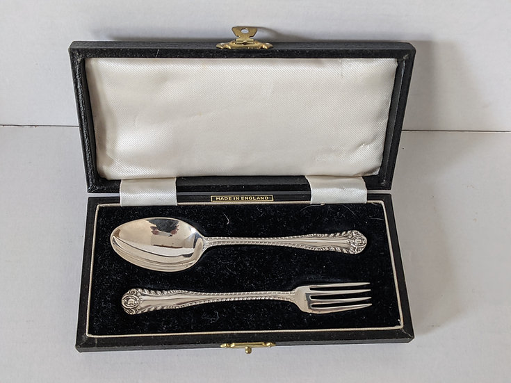 A boxed Christening set of Fork and Spoon Birmingham 1958