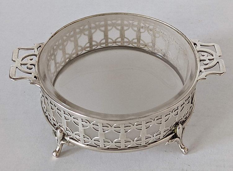 Antique Pierced Silver & Cut Glass Butter  Dish Adie Bros. 1922