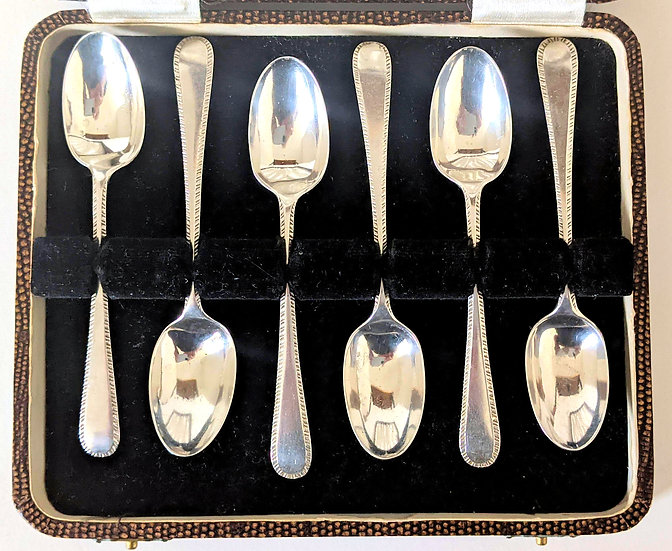 BOXED solid silver COFFEE/TEA SPOONS, 1903, 63gm
