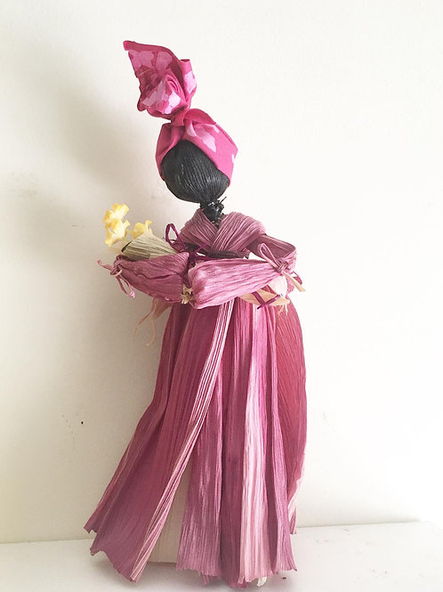 """Queen Folk"" Corn Husk Doll (Red)"