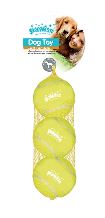 "2.5"" SQUEAKY TENNIS BALL 3PK"