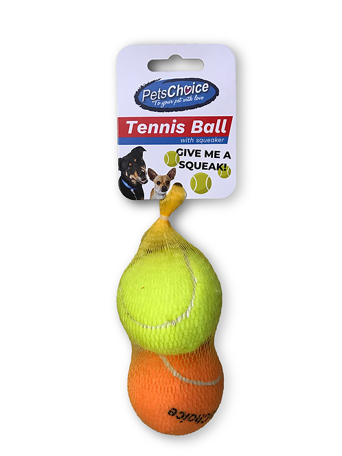 PETS CHOICE 63mm TENNIS BALL - yellow/orange 3pc