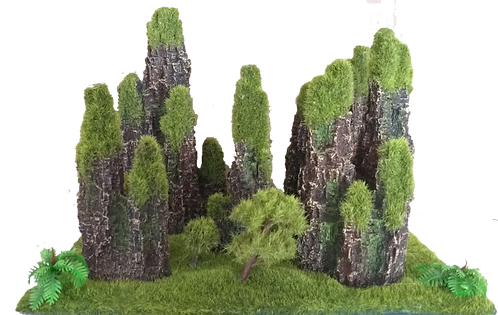 SMALL TANK BASES WITH MOSS AND ROCKS