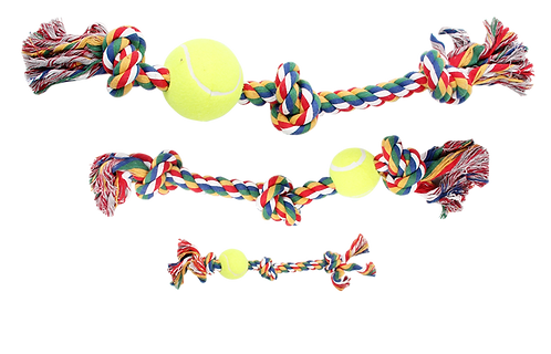 "18"" ROPE BONE w/3 KNOTS&TENNIS BALL-MULTI COLOUR"