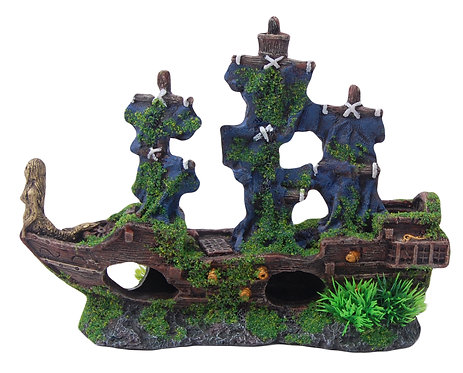 24CM PIRATE SHIP WITH MOSS
