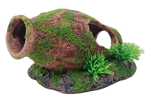 16CM URN/POT WITH MOSS