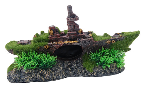 24CM BOAT WITH MOSS