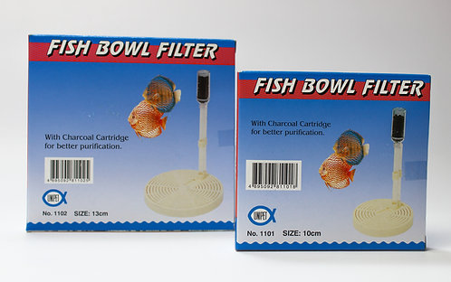 FISH BOWL FILTER W/CHARCOAL 13cm