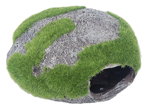 15CM ROUND ROCK WITH MOSS