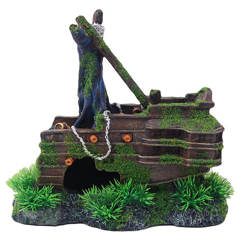 23CM BACK SHIPWRECK WITH MOSS