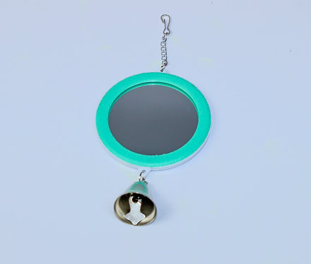 2-SIDED ROUND MIRROR 7.7cm WITH BELL