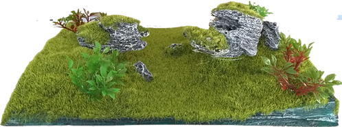 SMALL TANK BASE WITH MOSS AND ORNAMENTS