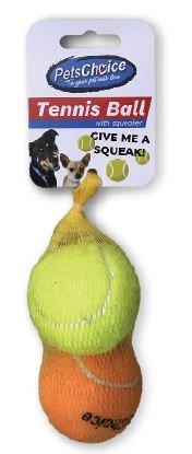 PETS CHOICE 63mm TENNIS BALL-w/squeaker 2pc