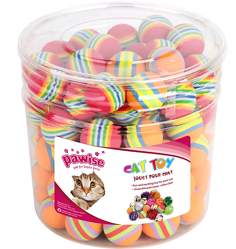RAINBOW FOAM BALLS 90PC (CYLINDER)