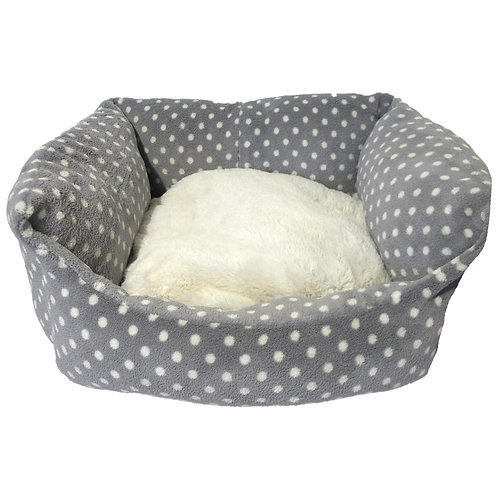 Rosewood Pet Bedding Grey Cream Spot Bed Sml