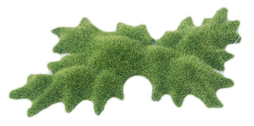 23CM MOSS ORNAMENT WITH SMALL PEAKS 4PC