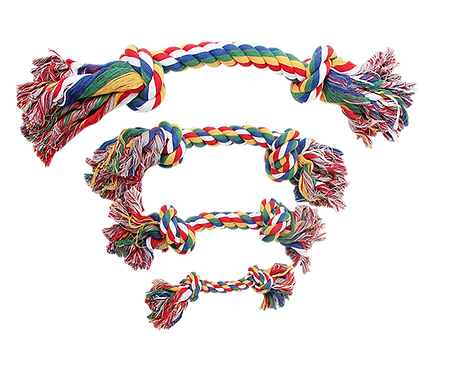 "12"" ROPE BONE w/2 KNOTS - MULTI COLOUR"