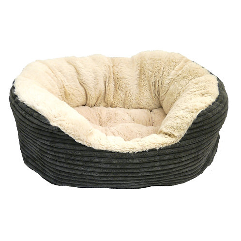 Rosewood Pet Bedding Grey Jumbo Cord/Plush Bed Sml