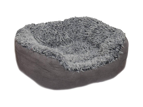Rosewood Pet Bedding Grey Lion Faux Suede Oval Bed