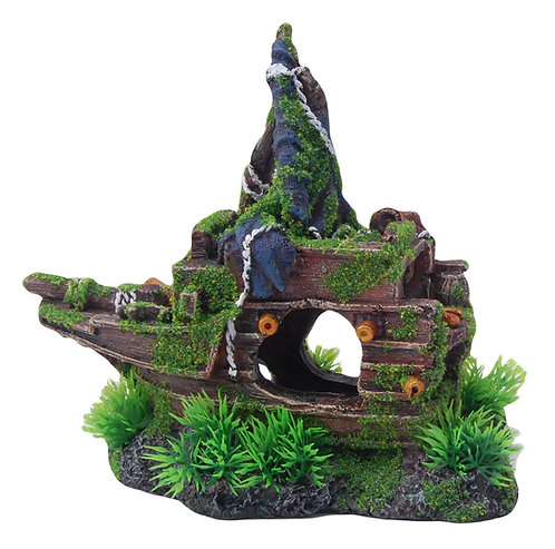 21CM FRONT SHIPWRECK WITH MOSS