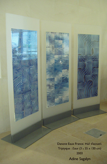 Three compositions commissioned by Danone for the entrance hall of Danone Eaux France. 2005.