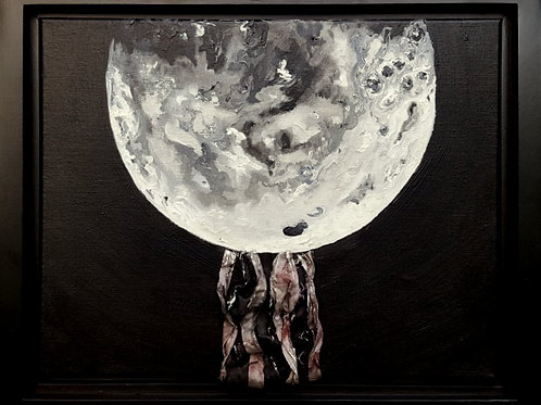New Moon Glow original framed lighted mixed media painting, 13 1/3x16""""