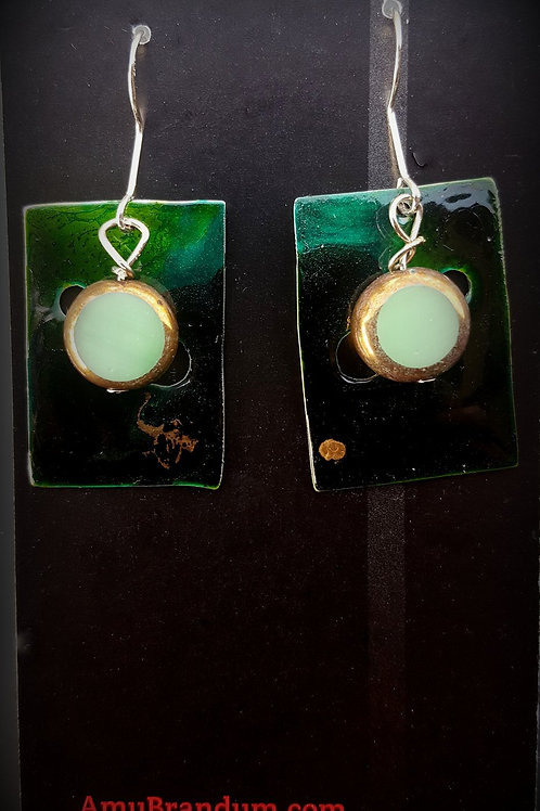 Green Bead Abstract Squares Earrings