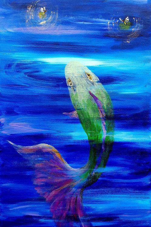 "Nighttime Fishing original painting, 12x24"""