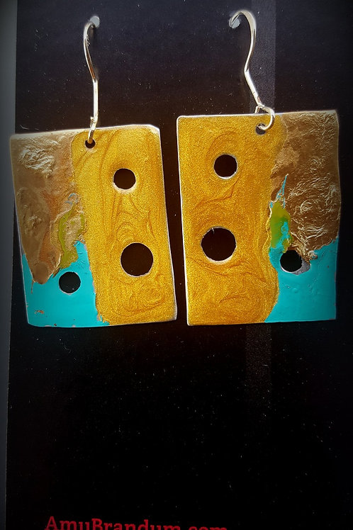 Gold Ocean Abstract Square Earrings
