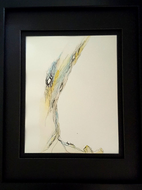 Tree Lines original framed watercolor painting, 12x14""