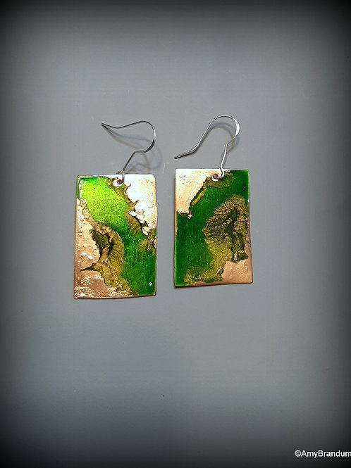 Green and Gold Stripe Marbled Earrings