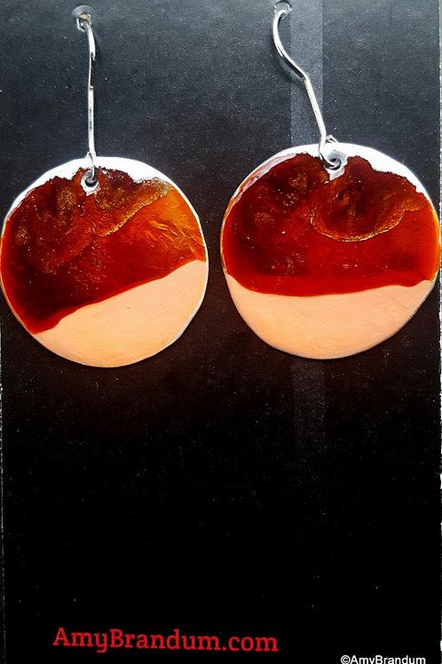 Red and Coral Circle Earrings