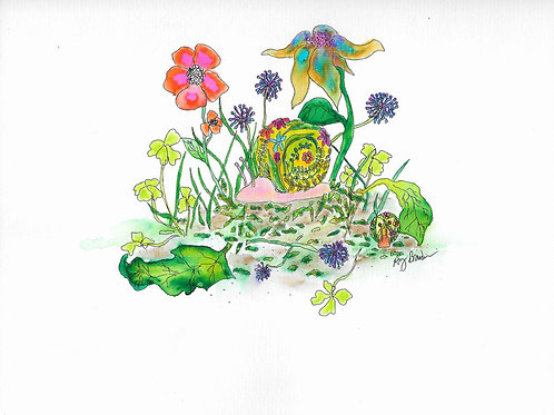 Snails and Flowers matted watercolor print, 11x14""