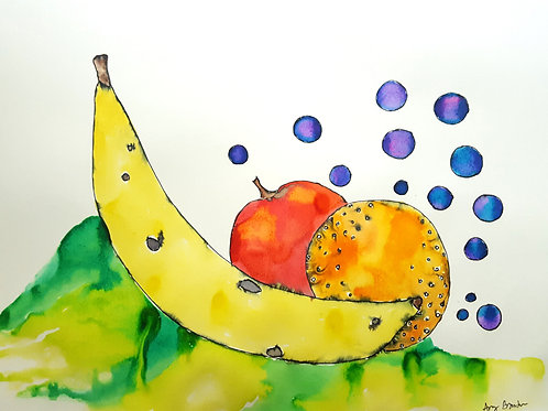 Bubbly Mixed Fruit original framed watercolor painting,12x14""