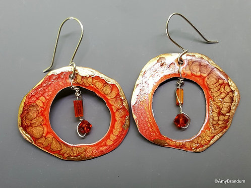 Orange Crystal Geode Earrings