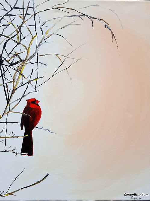 "Winter Blush Cardinal original painting, 16x20"""