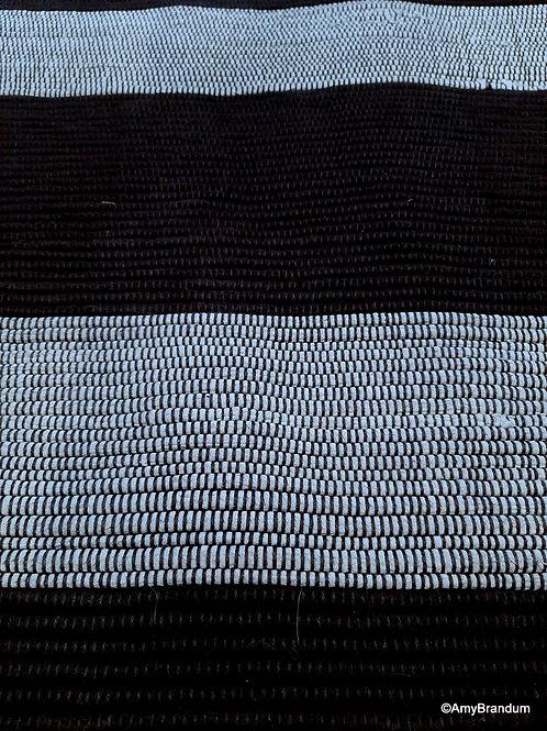 Black and Gray OffCentered Stripes Rag Rug