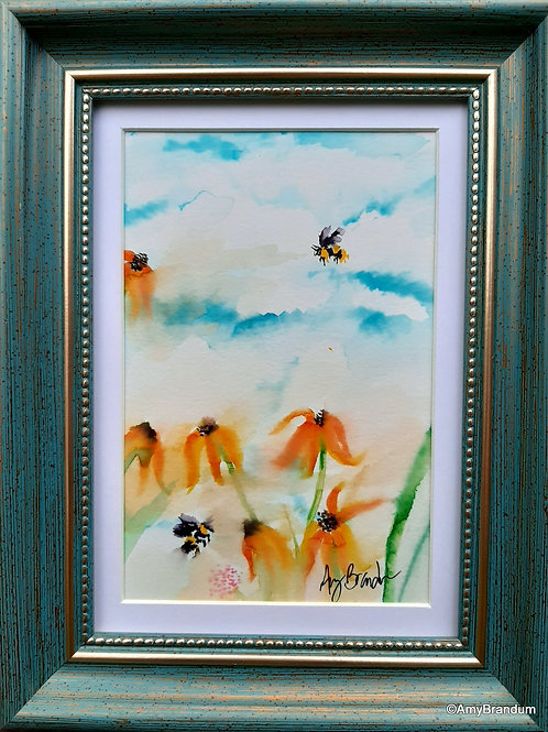 BumbleFlowers original framed watercolor painting, 7x9""