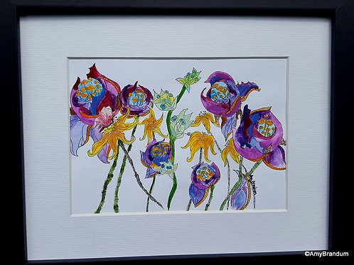 """Ragged Roses Bouquet original framed watercolor painting, 9x11"""""""