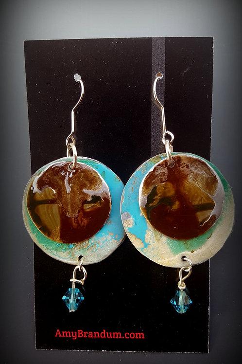 Planet Earth Circle Bead Earrings