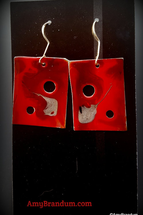 Red Abstract Rectangles Earrings