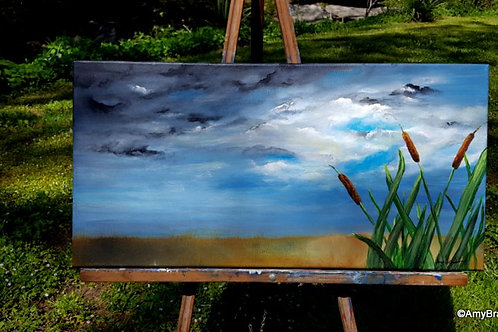 Stormy Clouds Cattails original painting, 12x24""